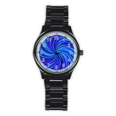 Happy, Blue Stainless Steel Round Watches