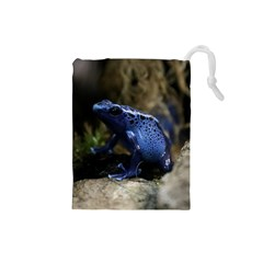 Blue Poison Arrow Frog Drawstring Pouches (small)