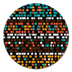 Squares pattern in retro colors Magnet 5  (Round)