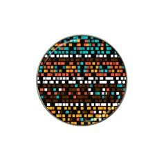 Squares pattern in retro colors Hat Clip Ball Marker (10 pack)