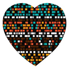 Squares pattern in retro colors Jigsaw Puzzle (Heart)