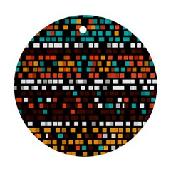 Squares pattern in retro colors Round Ornament (Two Sides)