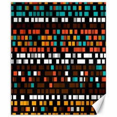 Squares pattern in retro colors Canvas 8  x 10