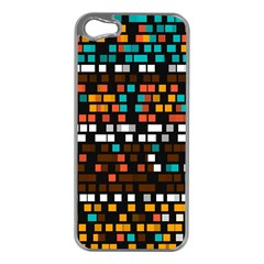 Squares pattern in retro colors Apple iPhone 5 Case (Silver)