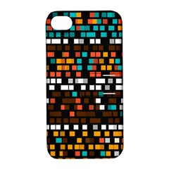 Squares pattern in retro colors Apple iPhone 4/4S Hardshell Case with Stand