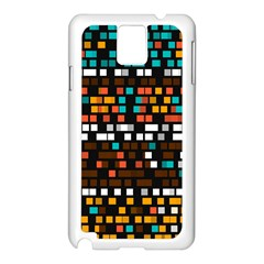 Squares pattern in retro colors Samsung Galaxy Note 3 N9005 Case (White)