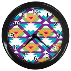 Triangles and other shapes pattern Wall Clock (Black)
