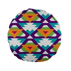 Triangles and other shapes pattern Standard 15  Premium Round Cushion