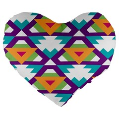 Triangles and other shapes pattern Large 19  Premium Heart Shape Cushion