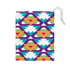 Triangles and other shapes pattern Drawstring Pouch
