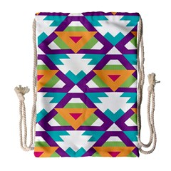 Triangles and other shapes pattern Large Drawstring Bag