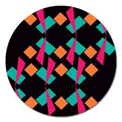 Shapes in retro colors  Magnet 5  (Round)