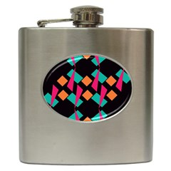 Shapes In Retro Colors  Hip Flask (6 Oz)