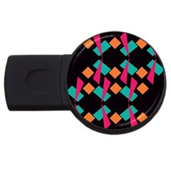 Shapes in retro colors  USB Flash Drive Round (2 GB)