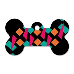 Shapes In Retro Colors  Dog Tag Bone (two Sides)