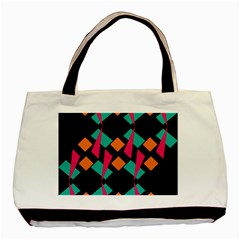Shapes in retro colors  Basic Tote Bag (Two Sides)