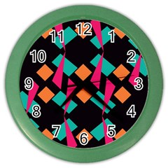 Shapes in retro colors  Color Wall Clock