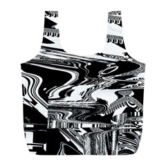 Bw Glitch 1 Full Print Recycle Bags (L)