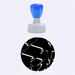 Bw Glitch 3 Rubber Round Stamps (Medium)