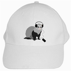 Funny Music Lover Ferret White Baseball Cap