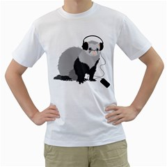 Funny Music Lover Ferret Men s T-Shirt (White)