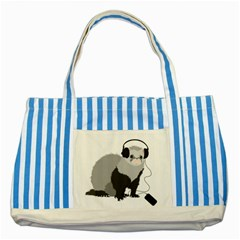 Funny Music Lover Ferret Striped Blue Tote Bag