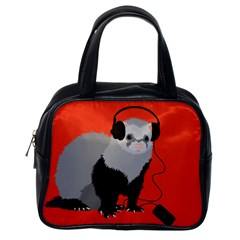 Funny Music Lover Ferret Classic Handbags (One Side)