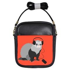 Funny Music Lover Ferret Girls Sling Bags