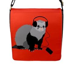 Funny Music Lover Ferret Flap Messenger Bag (l)