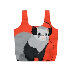 Funny Music Lover Ferret Full Print Recycle Bags (S)