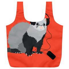 Funny Music Lover Ferret Full Print Recycle Bags (L)