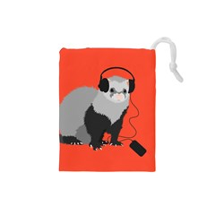 Funny Music Lover Ferret Drawstring Pouches (Small)