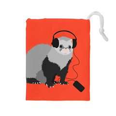 Funny Music Lover Ferret Drawstring Pouches (large)