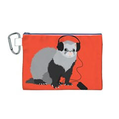 Funny Music Lover Ferret Canvas Cosmetic Bag (m)