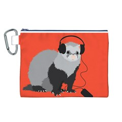 Funny Music Lover Ferret Canvas Cosmetic Bag (L)