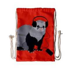 Funny Music Lover Ferret Drawstring Bag (small)