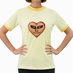Angry Devil Heart Drawing Print Women s Fitted Ringer T Shirts