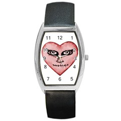 Angry Devil Heart Drawing Print Barrel Metal Watches