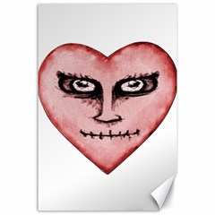 Angry Devil Heart Drawing Print Canvas 24  x 36