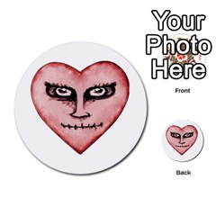 Angry Devil Heart Drawing Print Multi-purpose Cards (Round)