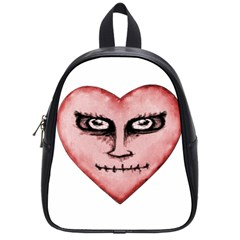 Angry Devil Heart Drawing Print School Bags (Small)
