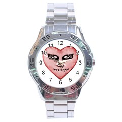 Angry Devil Heart Drawing Print Stainless Steel Men s Watch
