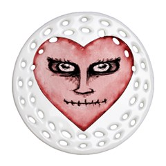 Angry Devil Heart Drawing Print Round Filigree Ornament (2side)