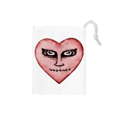 Angry Devil Heart Drawing Print Drawstring Pouches (Small)