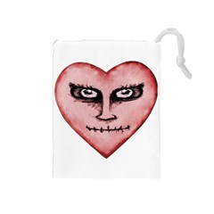 Angry Devil Heart Drawing Print Drawstring Pouches (Medium)