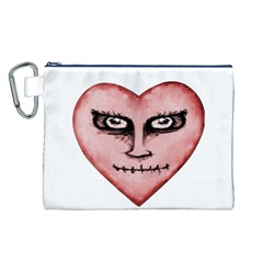 Angry Devil Heart Drawing Print Canvas Cosmetic Bag (L)