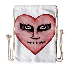 Angry Devil Heart Drawing Print Drawstring Bag (large)