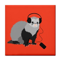 Funny Music Lover Ferret Tile Coasters