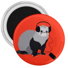 Funny Music Lover Ferret 3  Magnets