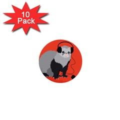 Funny Music Lover Ferret 1  Mini Buttons (10 Pack)